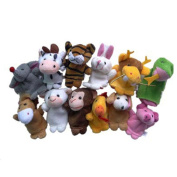 Transer® Toys For Kids - 12pcs Animals Piggy Finger Puppet- Children Baby Bedtime Story Tool- Christmas Gift for Kid Party Play
