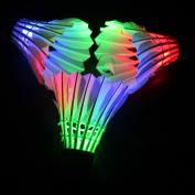 LED Shuttlecock Badminton Birdies, Leadge Shuttlecock Dark Night Goose Feather Glow Birdies Lighting for Outdoor Indoor Sport Activities Toys gift game
