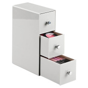 mDesign 3-Drawer Cosmetic Organiser for Makeup, Beauty Products - Flip Tower, Light Grey