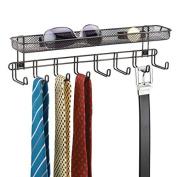 mDesign Wall Mount Closet Organiser for Ties, Belts, Wallets with Shelf - Bronze