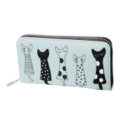 VALYRIA Girls Faux Leather Cute Cartoon Animal Cat Wallet Slim Small Clutch Bag Coin Purse