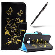 Samsung Galaxy J5 2015 Case,Samsung Galaxy J5 2015 Leather Book Case,Felfy Elegant Premium Bronzing Butterfly Flower Creative 3D Pattern Flip PU Leather Luxury Wallet Case Cover Folio Magnetic with Credit Card Slots Holder Stand Feature Floding Noteboo ..