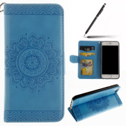 iPhone 6 Case,iPhone 6S Case,iPhone 6S Wallet Case Blue,Felfy Elegant Embossing Series Vintage Floral Pattern Flip PU Leather Book Style Folding Wallet Case Stand View Cover with Magnetic Strap Closure Credit Card Holder Leather Pouch Slim,Protective B ..