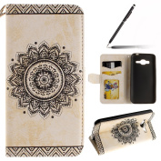 Samsung Galaxy J3 2016 Case,Samsung Galaxy J3 2016 Cover,Samsung Galaxy J3 2016 Wallet Case White,Felfy Elegant Embossing Series Vintage Floral Pattern Flip PU Leather Book Style Folding Wallet Case Stand View Cover with Magnetic Strap Closure Credit C ..