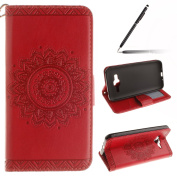 Samsung Galaxy J3 2016 Case,Samsung Galaxy J3 2016 Cover,Samsung Galaxy J3 2016 Wallet Case Red,Felfy Elegant Embossing Series Vintage Floral Pattern Flip PU Leather Book Style Folding Wallet Case Stand View Cover with Magnetic Strap Closure Credit Car ..