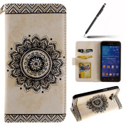 Samsung Galaxy Grand Prime Case,Samsung Galaxy Grand Prime Cover,Samsung Galaxy Grand Prime Wallet Case White,Felfy Elegant Embossing Series Vintage Floral Pattern Flip PU Leather Book Style Folding Wallet Case Stand View Cover with Magnetic Strap Clos ..