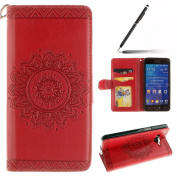 Samsung Galaxy Grand Prime Case,Samsung Galaxy Grand Prime Cover,Samsung Galaxy Grand Prime Wallet Case Red,Felfy Elegant Embossing Series Vintage Floral Pattern Flip PU Leather Book Style Folding Wallet Case Stand View Cover with Magnetic Strap Closur ..