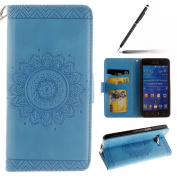 Samsung Galaxy Grand Prime Case,Samsung Galaxy Grand Prime Cover,Samsung Galaxy Grand Prime Wallet Case Blue,Felfy Elegant Embossing Series Vintage Floral Pattern Flip PU Leather Book Style Folding Wallet Case Stand View Cover with Magnetic Strap Closu ..