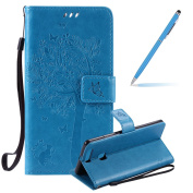Huawei P9 Plus Leather Case, Huawei P9 Plus Wallet Case, Huawei P9 Plus Flip Case Disney, Felfy Fashion Elegant Pure Handmade Premium Folio PU Leather Wallet Book Style Case with Wrist Strap Tree Flower Butterfly Cute Cat Design Slim-fit [Magnetic Deta ..