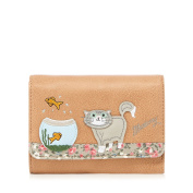 Mantaray Womens Brown Cat And Fish Bowl Applique Wallet