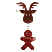 Turtle Story Gingerbread Man and Rudolph Hair Clips