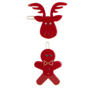 Turtle Story Gingerbread Man and Rudolph French Hair Clips