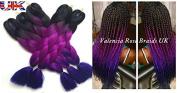 60cm 5 x Ombre Black Purple Blue 3Tone Dip Dye Kanekalon Braiding Hair Extensions