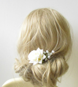 Ivory White Rose Gypsophila Flower Hair Pin Bridal Bridesmaid Clip Floral 1257 *EXCLUSIVELY SOLD BY STARCROSSED BEAUTY*