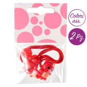 Hair Clip 2 Bands for Girl with Cat Hair Set - Stripe red