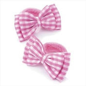 2 x Girls Pink & White Gingham Bow Motif Hair Bobbles/ Elastics/ Ponios by Chelsea Jones