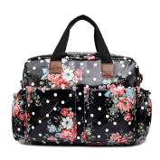 Miss Lulu Baby Nappy Nappy Changing Bag Set 4 Pieces Flower Polka Dot Print
