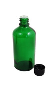Pack of 3 x GREEN Glass Bottles 100ml with Black Tamper Evident Dropper Cap. Top quality empty green Durham glass bottle containers suitable for Aromatherapy, Art, Crafts, First Aid, Beauty, Skin Lotions and Serums etc