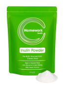 Homework Health High Grade Inulin Powder 500g - Soluble Dietary Fibre Supplement - Fructooligosaccharides (FOS) Prebiotic Fibre Sourced From Chicory Root – Digestive Aid - Comes In Re-Sealable Stand Up Pouch