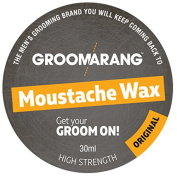 Groomarang Moustache & Beard Wax Extra Strong Original 100% Natural Hair Care Organic & Vegan 30ml