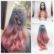 New Fashion Smoky Grey/Pink Ombre Natural Straight Wigs Synthetic Lace Front Wig Heat Resistant Fibre Hair With Dark Roots