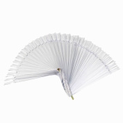 Deesos 50Pcs Nail Art False Tips Sticks Practise Display Fan Board Design Tools Clear
