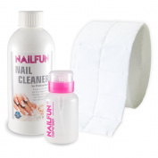 NAILFUN 500 ml Nail Cleanser + 1 Roll of 500 Nail Wipes + 1 Dispenser Bottle
