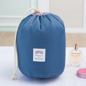 LUOEM Cosmetic Travel Bags for Women Portable Cylindric Toiletry Bag Washable Storage Bag Blue