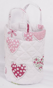 Love2Sleep SMALL NURSERY NAPPY TOYS STORAGE ROUND BASKET BAG - PINK HEARTS