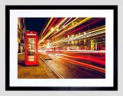 PHOTO LONG EXPOSURE LONDON UK CITY STREET NEON FRAMED ART PRINT F12X11294
