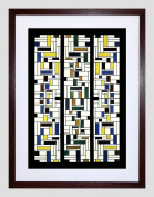 PAINTING VAN DOESBURG STAINED GLASS COMPOSITION IV 9x7 FRAMED PRINT F97X12871