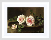 PAINTING MORTELMANS TWO PINK PRINCE BULGARIA ROSES 9x7 FRAMED PRINT F97X12805