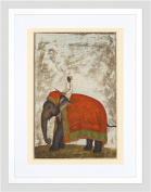 PAINTING KHAN MUGHAL EMPEROR'S CEREMONIAL ELEPHANT FRAMED PRINT F12X11020