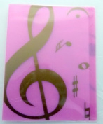 Music themed 20 Pockets Plastic Folder Display Book Soft Cover - Pink Treble Clef design