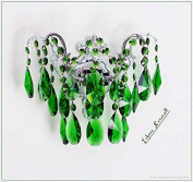 Wall lamp with real green Crystal, Wall Chandelier, colourful crystal, solid Metal Frame real crystal Illustration green crystal, frame Silver. 4260418994100