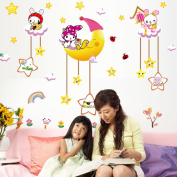 Smile Star Moon Flowers Rabbit Rainbow Wall Sticker Decal Home Decor PVC Murals Wallpaper House Art Picture Living Room Adult Senior Teen Kids Baby Bedroom Decoration