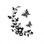 Outstanding® Black Butterfly Flower Vine Wall Stickers for Home Bathroom Toilet Decoration