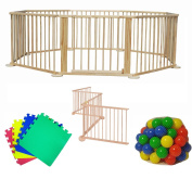 8 Panel Foldable Large Wooden Baby Playpen - Folding Room Divider/Play Pen for Babies & Toddlers w/ 9 x Soft Foam Playmats & 100 Coloured Playballs / International Delivery
