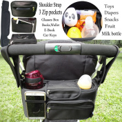 Best Stroller Organiser Bag, Chilly Pram Organiser Stroller Cup Holders with Removable Shoulder Strap, Fit All Strollers, Extra Large Storage Space for All Personal Belongings