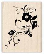 FLOWER FLOURISH Mounted Rubber Stamp InkaDinkaDo