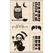 Inkadinkado Halloween Mounted Rubber Stamp, 7cm by 17cm , Mod Halloween