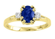 Diamond & Sapphire Ring 14K Yellow Gold Promise Birthstone Ring