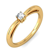 Luscious Cheap Solitaire Ring 0.33 Carat Round Cut Diamond on Gold