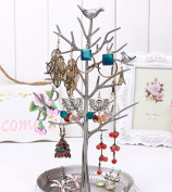 HQdeal Antique Silver Birds Tree Jewellery Stand Display Earring Necklace Holder Organiser Rack Tower