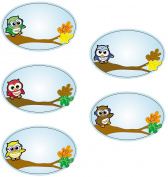 1 Roll ~ Owl Name Tag Stickers ~ Approx. 8.9cm X 5.7cm ~ Paper ~ New / Shrink-wrapped