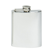 Edwin Blyde & Co Spirit Flask - Traditional Kidney Shape Plain with Hinged Lid, 180ml, Pewter