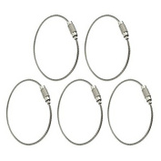 5pcs Outdoor Stainless Steel Wire Keyrings Keychains Screw Cable