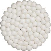 myfelt Felt Ball Coaster - Linéa - 20 cm, White