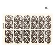 QINF 12PCS Cross Flower Shape Black Lace Nail Art Stickers NO.15