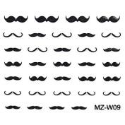 QINF 2PCS Beard Nail Art Stickers Mixed Pattern No.09-10